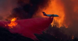 A firefighting airplane drops fire retardant at the Holy Fire near Lake Elsinore, in Orange County, California. Photograph: David McNewAFP/Getty Images