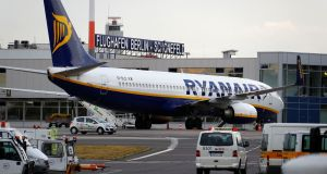 A Ryanair aircraft  on the tarmac  on Friday at Schoenefeld airport, south of Berlin, Germany. Photograph: Fabrizio Bensch/Reuters