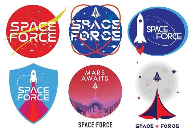 The suggested logos for the new US space force. Photograph: DonaldJTrump.com