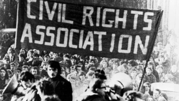 The Civil Rights Association lead a march in Derry on January 31st, 1972, a day after Bloody Sunday. Photogrpah: Getty Images