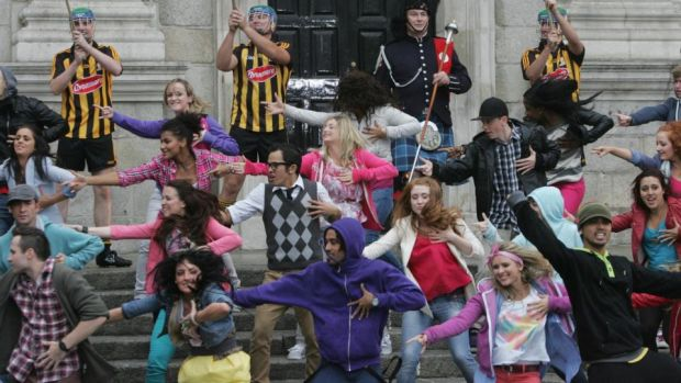 Irish dancers and musicians at Trinity College Dublin, where scenes for the Bollywood movie Ek Tha Tiger were shot in 2011. Photograph: Bryan O'Brien