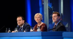 Leo Varadkar, Regina Doherty and Peter Fitzpatrick at the Fine Gael 78th Ard Fheis in 2016. Photograph: Dara Mac Dónaill / The Irish Times