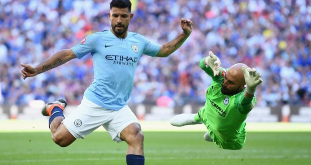 1fe5acc12 Manchester City's Sergio Aguero in action during the Charity Shield against  Chelsea when he started the