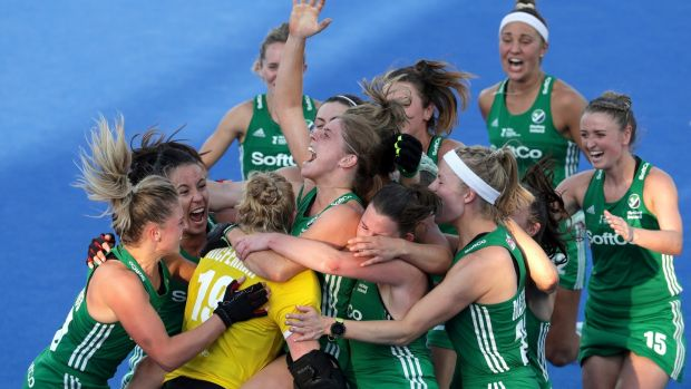 Ireland players celebrate their victory over India in the quarter-finals of the Hockey World Cup in London. Photograph: Kate McShane/Getty Images
