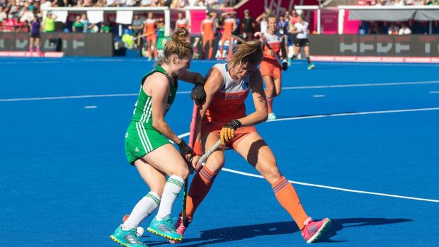 Ireland's Emily Beatty in action against Caia van Maasakker of the Netherlands during the Hockey Women's World Cup Final at Lee Valley Stadium in London. Photograph: Morgan Treacy/Inpho