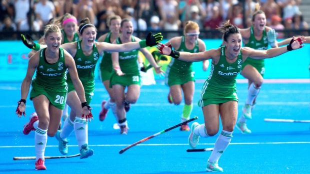 Chloe Watkins and Anna O'Flanagan lead the Ireland celebratations after winning the semi-final shootout against Spain at the World Cup in London. Photograph: Sandra Mailer/Inpho