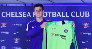 Chelsea's new goalkeeper Kepa Arrizabalaga is expected to make his Premier League debut against Huddersfield. Photo: Andy Rain/EPA