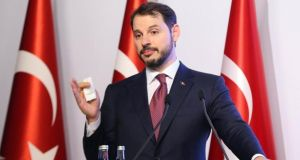 "Berat Albayrak, Turkey's treasury and finance minster, promised to ""transform"" the country's economy and to ""rein in inflation"", but lacked specific details. Photographer: Stringer/Bloomberg"