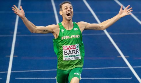 WUNDERBARR: Ireland's Thomas Barr celebrates winning bronze in the 400m hurdles final at the European Championships in Berlin, Germany. Photograph: Morgan Treacy/Inpho