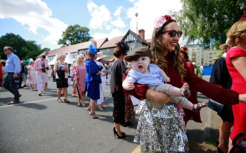 PRETTY AS A PICTURE: Baby Hugh McCague and Noelle Sorohan on ladies' day at the Dublin Horse Show. Photograph: Nick Bradshaw for the Irish Times