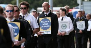 Ryanair pilots on strike at Dublin Airport on Friday which was the fifth   24 hour work stoppage by pilots over pay and conditions. Photograph: Laura Hutton/Collins