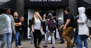 Sports Direct's shares were down 0.7 per cent after the British sportswear retailer snapped up House of Fraser for £90 million