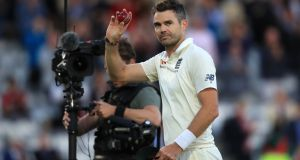 England's James Anderson celebrates his five-wicket haul during day two of the Second Test against India at Lord's. Photograph: Adam Davy/PA