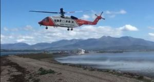 A helicopter which responded to an incident involving a male kayaker on Friday. Photograph: Iveragh Coast Guard