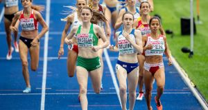 Ireland's Ciara Mageean finishes second in 4:09.35 in the 1,500m heats at the European Athletics Championship in Berlin. Photo: Morgan Treacy/Inpho