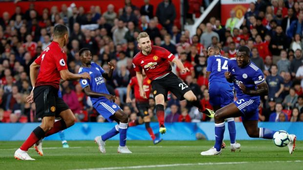 Shaw scores his first ever United goal. Photo: Darren Staples/Reuters