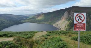 The sudden appearance of signs threatening to prosecute hikers at Luggala, Co Wicklow, is most unwelcome. Photograph: Mountaineering Ireland