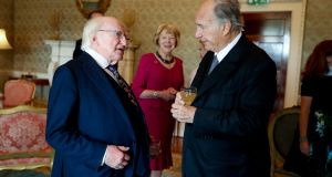 President Higgins and his wife Sabina meeting Prince Shah Karim Al Husseini, Aga Khan IV. Photograph: Maxwells