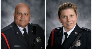 police officers Sara Mae Burns (43) and Lawrence Robb Costello (45) were shot at an apartment complex in Fredericton, capital of the province of New Brunswick. Photograph: Reuters