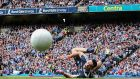 Dublin goalkeeper Stephen Cluxton saves a penalty from Galway's Eamonn Brannigan. Photograph: Tommy Dickson/Inpho