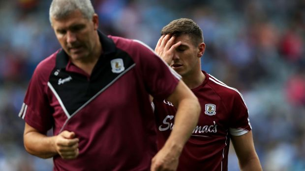 Galway manager Kevin Walsh and Shane Walsh at the end of the All-Ireland SFC semi-final defeat to Dublin at Croke Park. Photograph: Tommy Dickson/Inpho