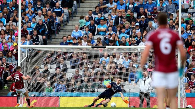 Dublin goalkeeper Stephen Cluxton saves a penalty from Eamonn Brannigan of Galway. Photograph: Ryan Byrne/Inpho