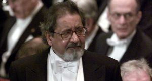 Writer VS Naipaul waits to receive his Nobel prize for literature in 2001. Photograph: REUTERS/Chris Helgren