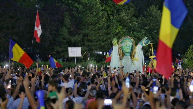 Thousands of Romanians joined an anti-government rally in the capital Bucharest, Romania August 11th, 2018. Photograph: Inquam Photos/Octav Ganea