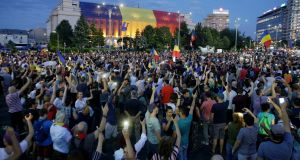 Thousands of Romanians joined an anti-government rally in the capital Bucharest, Romania on August 11th, 2018. Photograph: Inquam Photos/Octav Ganea