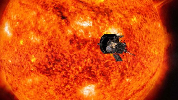 An artists' impression of the Parker Solar Probe approaching the Sun. Photograph: Nasa