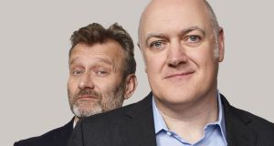 Dara Ó Briain and Hugh Dennis (background) from 'Mock the Week', repeats of which are a mainstay of UKTV channel Dave
