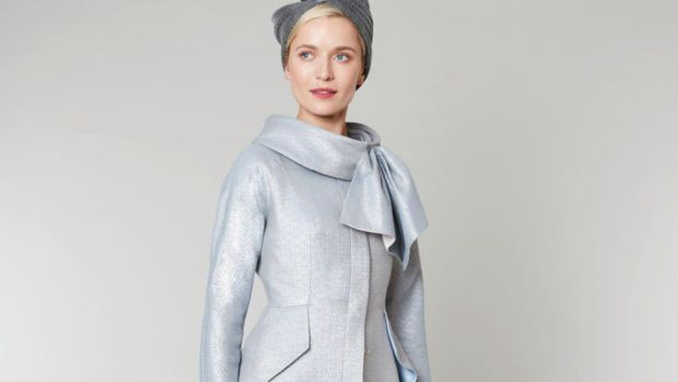 Finn coat: fit and flare Lurex threaded wool coat with waterfall style peplum and stand and fall collar. Can be worn with Mink tailored dress. Approx €1,400 depending on fabric.