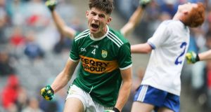Kerry's David Mangan celebrates scoring a goal in the  All-Ireland MFC  semi-final against Monaghan at Croke Park. Photograph: Oisín Keniry/Inpho