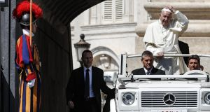 Pope Francis arrives on the Popemobile for a meeting with young people in St Peter's Square, Vatican City. Photograph: EPA/Giuseppe Lami