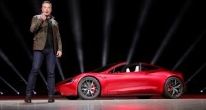 Tesla chief executive Elon Musk unveils the Roadster 2 in November 2017. Photograph: Tesla/Handout via Reuters