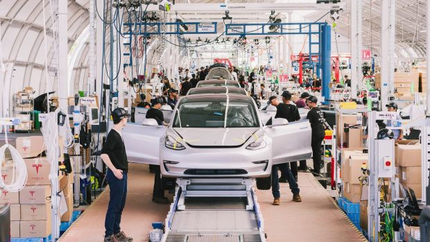 The Tesla Model 3 assembly line in Fremont, California. Photograph: Justin Kaneps/The New York Times