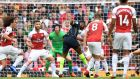 Manchester City's Raheem Sterling opens the scoring at the Emirates Stadium. Photograph: PA