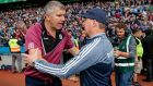 Galway manager Kevin Walsh and Dublin manager Jim Gavin  shake hands after the  All-Ireland SFC semi-final at Croke Park on Saturday.  Photograph: Ryan Byrne/Inpho