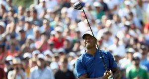 Tiger Woods  plays his shot from the 17th tee during the third round of the 2018 PGA Championship at Bellerive Country Club  in St Louis on Saturday. Photograph: Jamie Squire/Getty Images