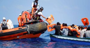 Migrants being rescued by the Aquarius team in the Mediterranean Sea. Photograph: Médicins Sans Frontières/EPA