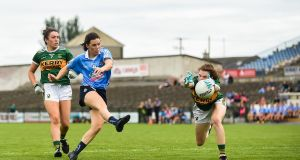 Lyndsey Davey of Dublin has her shot on goal blocked by Sarah Murphy of Kerry during the TG4 All-Ireland Ladies Football Senior Championship quarter-final match  at Dr Hyde Park. Photograph: Eóin Noonan/Sportsfile