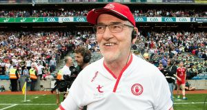 Tyrone manager Mickey Harte celebrates his team's All-Ireland SFC semi-final win over Monaghan at Croke Park. Photograph: Tommy Dickson/Inpho