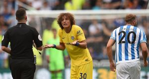 Chelsea's Brazilian defender David Luiz protests to the referee in the match against Huddersfield Town. Photograph: Oli Scarff/AFP/Getty Images