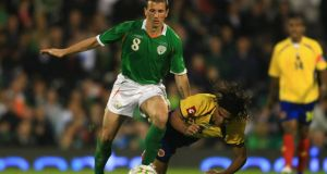 Liam Miller playing for Ireland against Columbia during a friendly match in London in 2008/. File photograph: Jamie McDonald/Getty