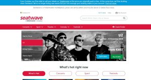 Seatwave's website on Monday morning, with a notice about its closure at the top of the screen. Photograph: Steatwave.ie