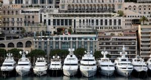 Luxury vessels sit moored  in Monaco. File photograph: Chris Ratcliffe/Bloomberg