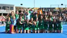 The Ireland team celebrate with their silver medals following the FIH Womens Hockey World Cup final. Photograph: Kate McShane/Getty Images
