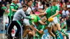 Limerick players celebrate the semi-final victory over Cork. Photograph: James Crombie/Inpho