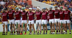 Galway players ahead of the semi-final replay against Clare in Thurles. Photograph: Bryan Keane/Inpho