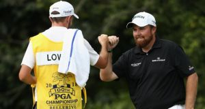 Shane Lowry of Ireland celebrates after making a birdie on the 13th green during the final round of the 2018 PGA Championship at Bellerive Country Club in St Louis, Missouri. Photo: Jamie Squire/Getty Images